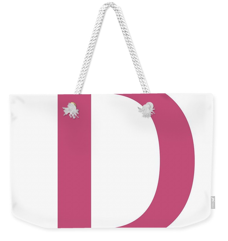 D Weekender Tote Bag featuring the digital art D In Pink Typewriter Style by Custom Home Fashions