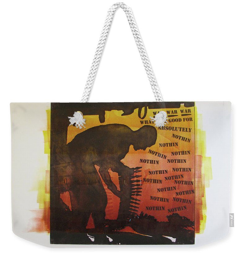 War Weekender Tote Bag featuring the painting D U Rounds Project, Print 18 by Erik Paul