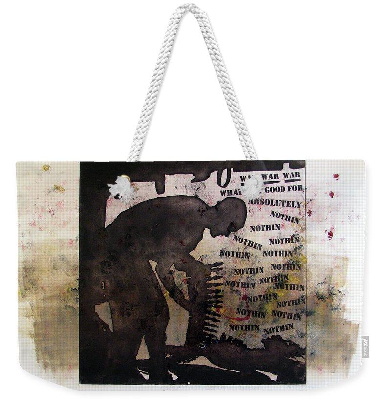 War Weekender Tote Bag featuring the painting D U Rounds Project, Print 19 by Erik Paul