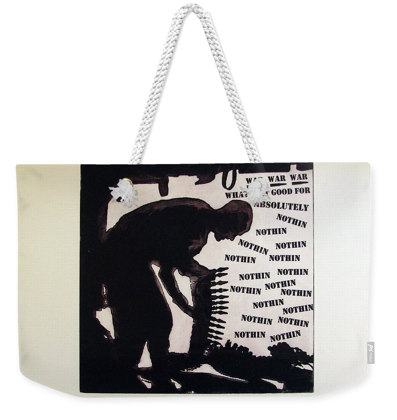 War Weekender Tote Bag featuring the painting D U Rounds Project, Print 20 by Erik Paul