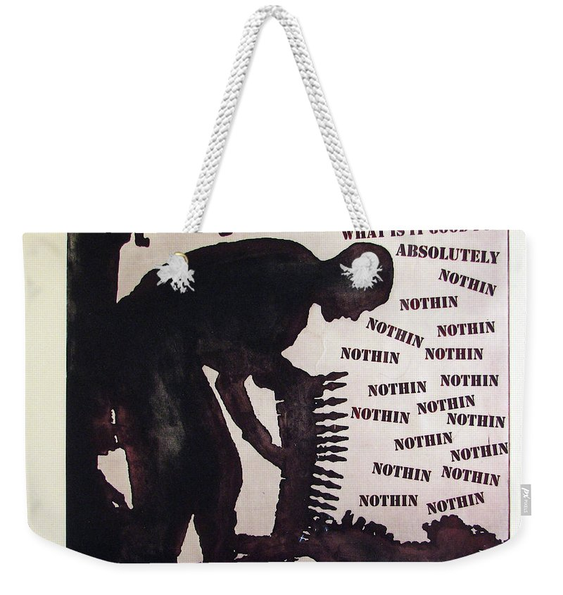 War Weekender Tote Bag featuring the painting D U Rounds Project, Print 21 by Erik Paul