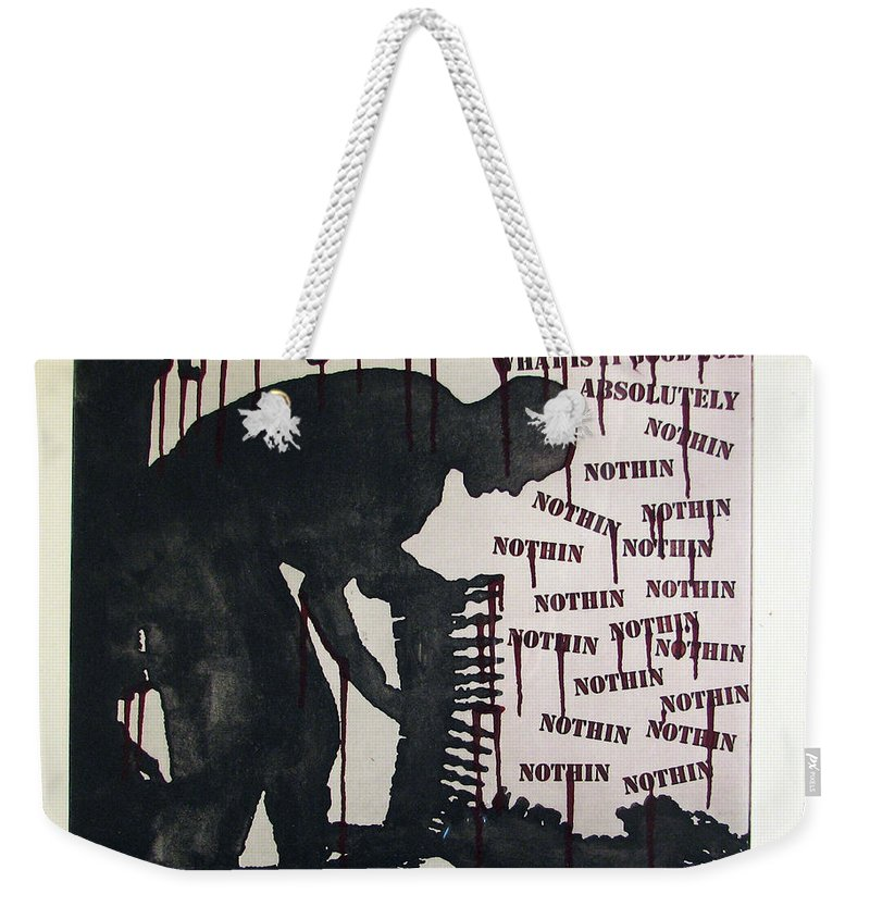 War Weekender Tote Bag featuring the painting D U Rounds Project, Print 22 by Erik Paul