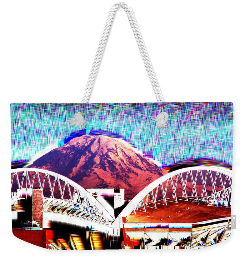 Seattle Weekender Tote Bag featuring the photograph Da Mountain And Stadia 2 by Tim Allen