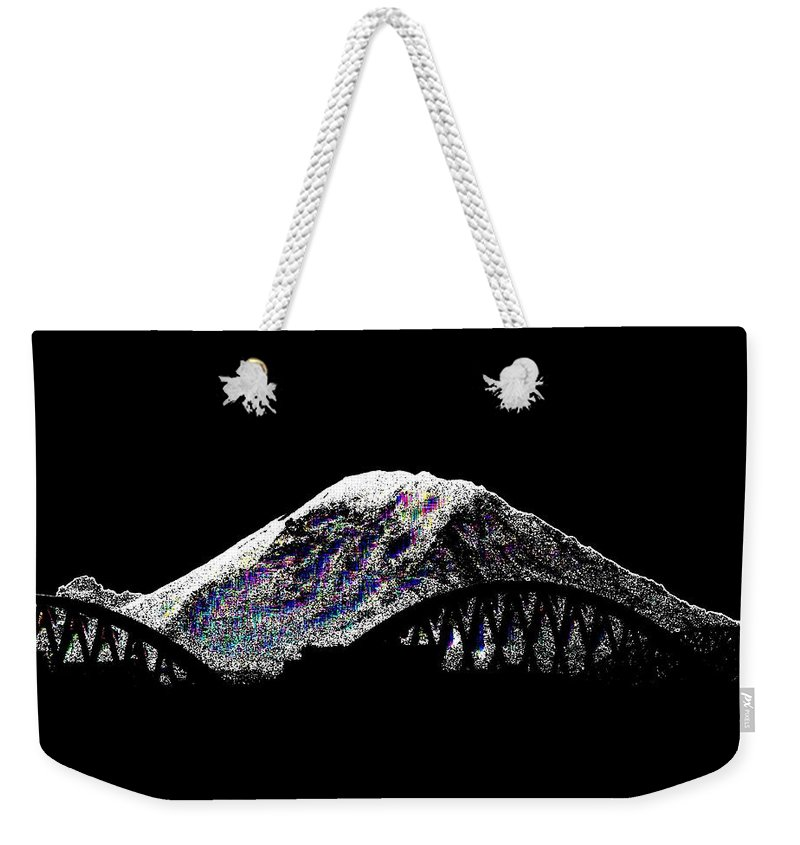 Mount Rainier Weekender Tote Bag featuring the digital art Da Mountain And Stadia by Tim Allen