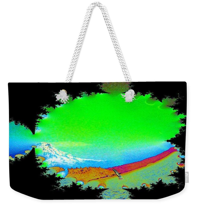 Washington Weekender Tote Bag featuring the digital art Da Mountain Sail In Fractal by Tim Allen