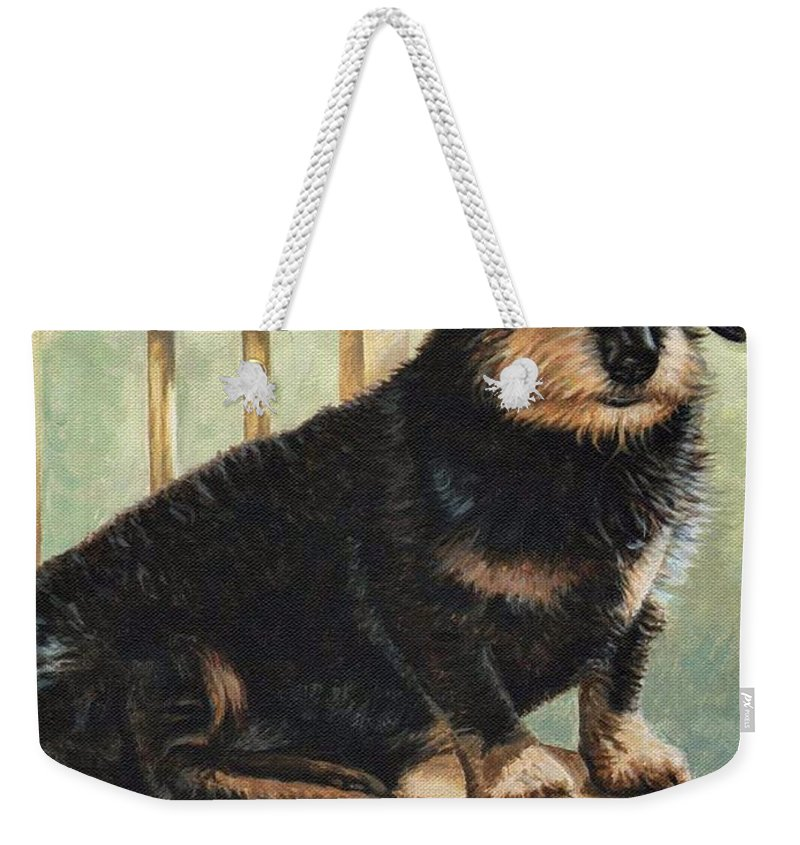 Dog Weekender Tote Bag featuring the painting Dachshund by Nicole Zeug