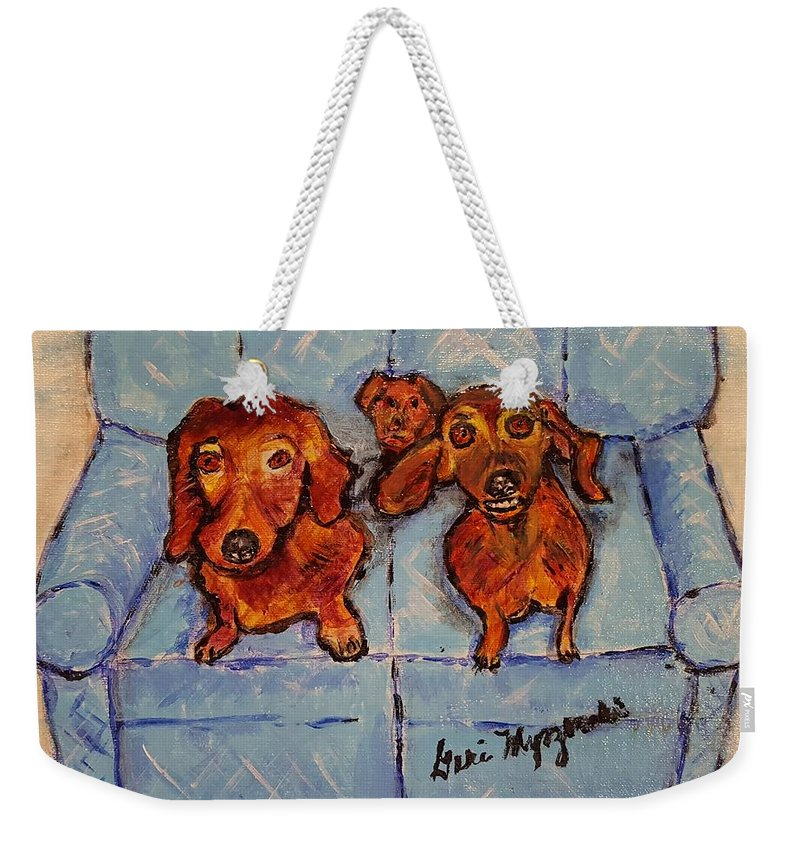 Dogs Weekender Tote Bag featuring the painting Dachshunds And Netflix by Geraldine Myszenski