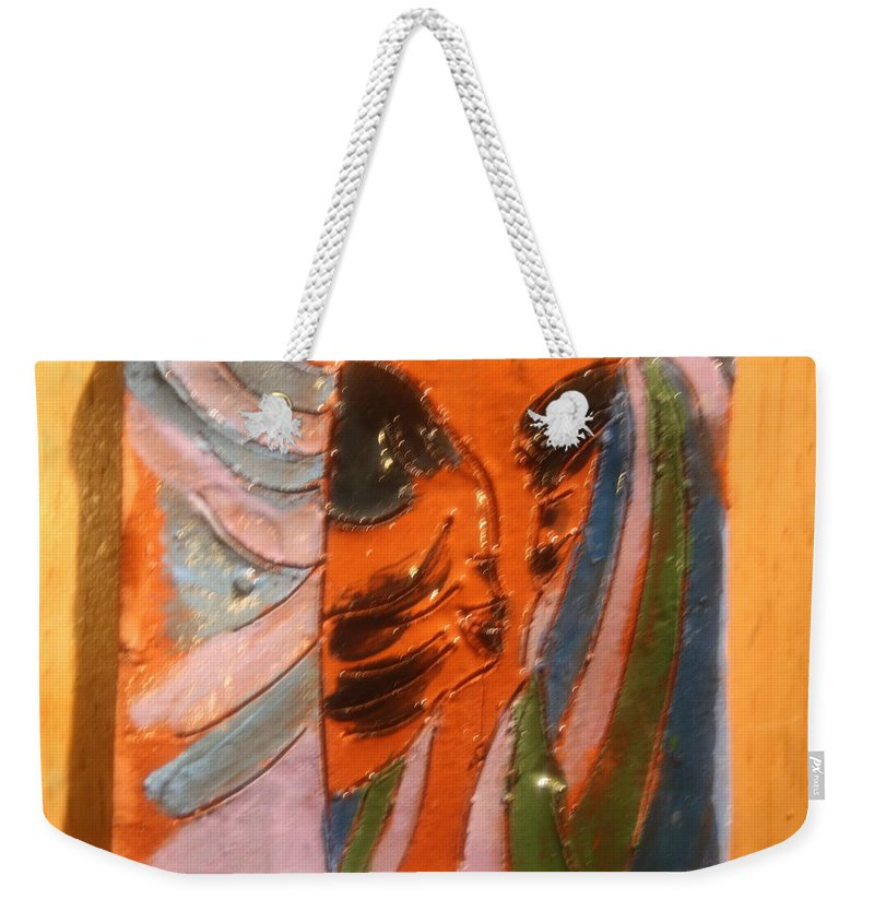Jesus Weekender Tote Bag featuring the ceramic art Dads Boy - Tile by Gloria Ssali