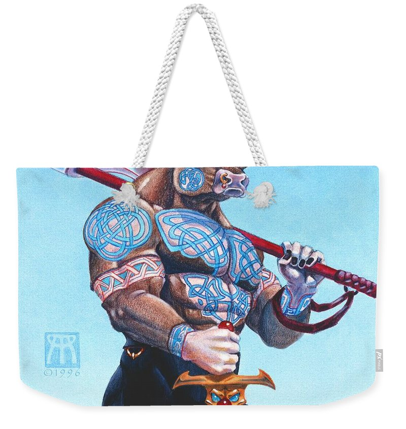 Minotaur Weekender Tote Bag featuring the painting Daedalus Minotaur Of Crete by Melissa A Benson