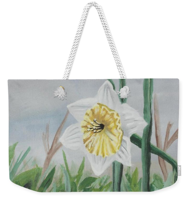 Daffodil Weekender Tote Bag featuring the painting Daffodil by Cecille Gagne