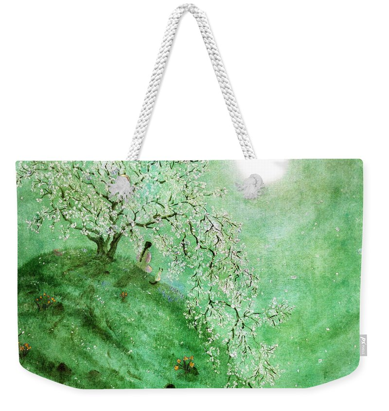 Fantasy Weekender Tote Bag featuring the digital art Daffodil Dream Meditation by Laura Iverson