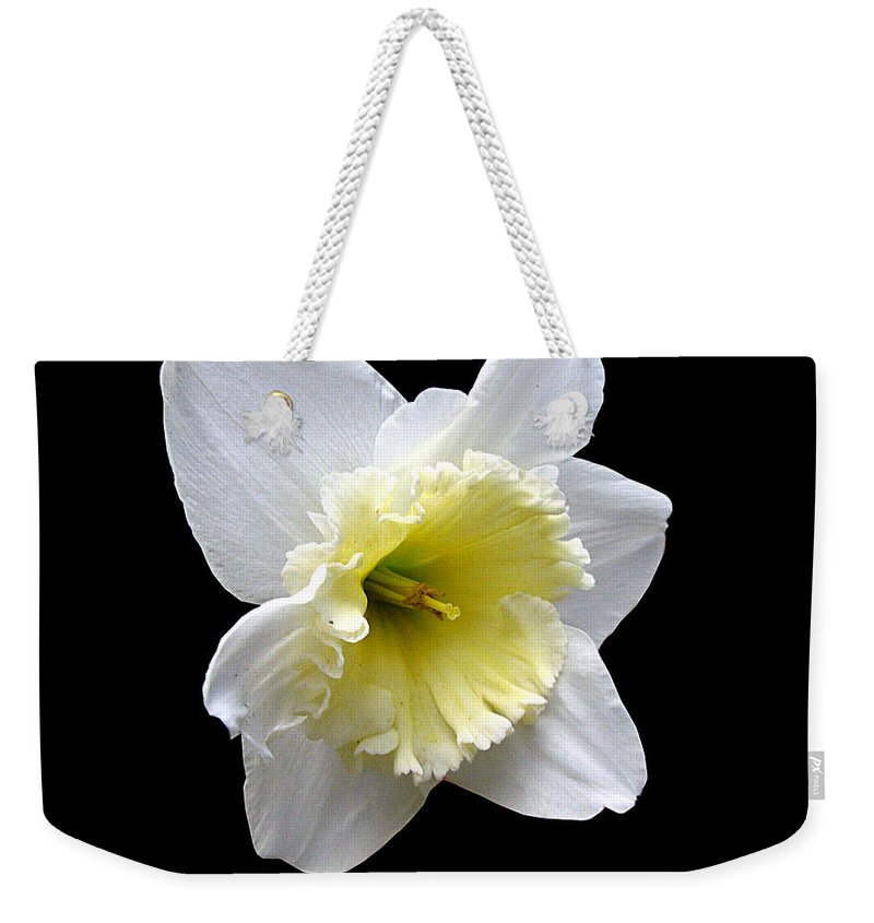 Daffodil Weekender Tote Bag featuring the photograph Daffodil On Black by J M Farris Photography