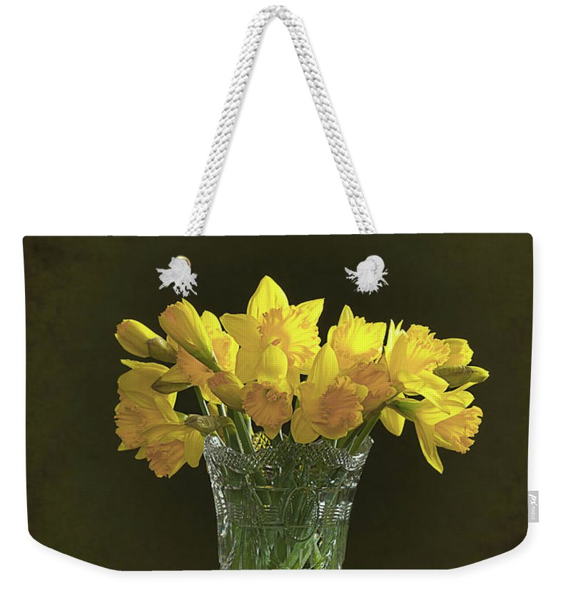 Bunch Weekender Tote Bag featuring the photograph Daffodil Still Life by Amanda Elwell