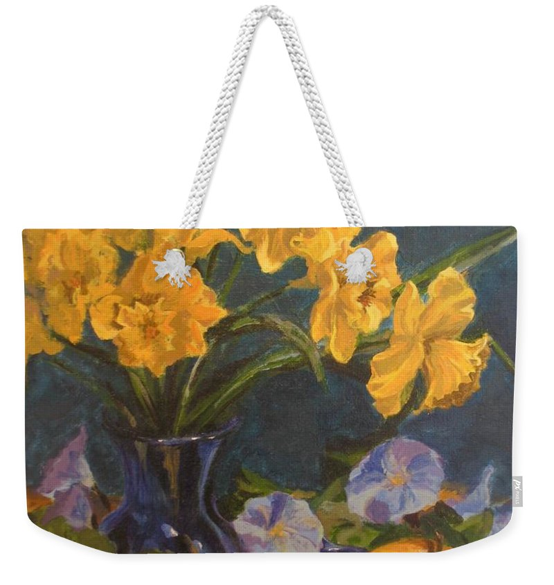 Still Life Weekender Tote Bag featuring the painting Daffodils by Karen Ilari