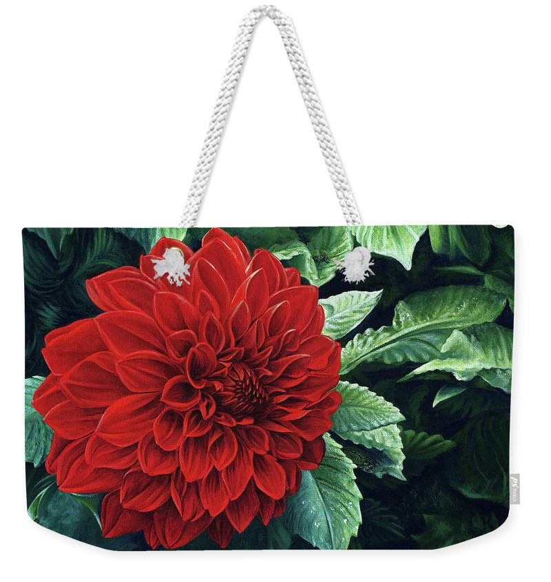 Dahlia Weekender Tote Bag featuring the painting Dahlia Dawn by Cara Bevan