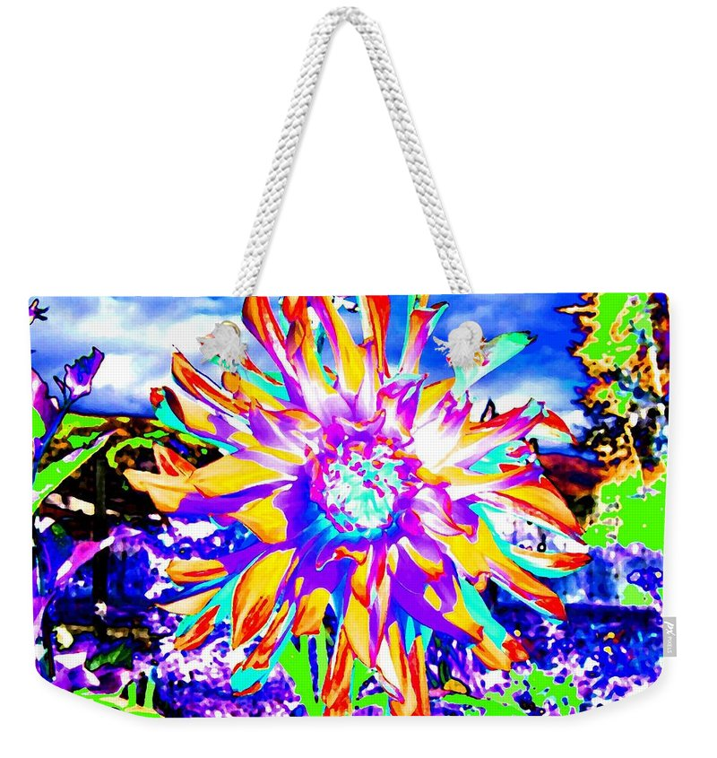 Dahlia Weekender Tote Bag featuring the digital art Dahlia Dazzle by Will Borden