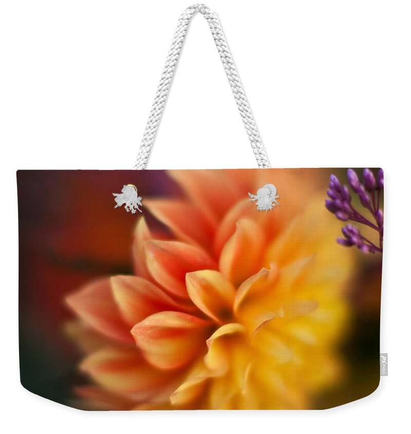 Dahlia Weekender Tote Bag featuring the photograph Dahlia Fireball by Mike Reid