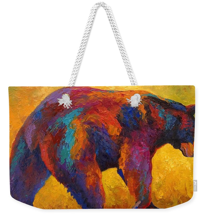 Bear Weekender Tote Bag featuring the painting Daily Rounds - Black Bear by Marion Rose