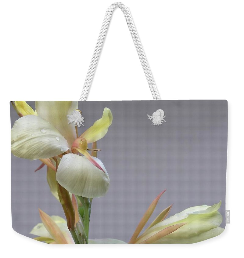 Yellow Weekender Tote Bag featuring the photograph Dainty Orchid by Mary Deal