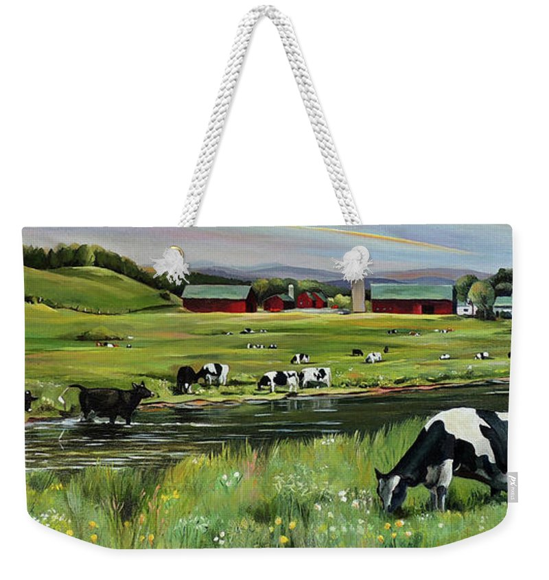 Landscape Weekender Tote Bag featuring the painting Dairy Farm Dream by Nancy Griswold