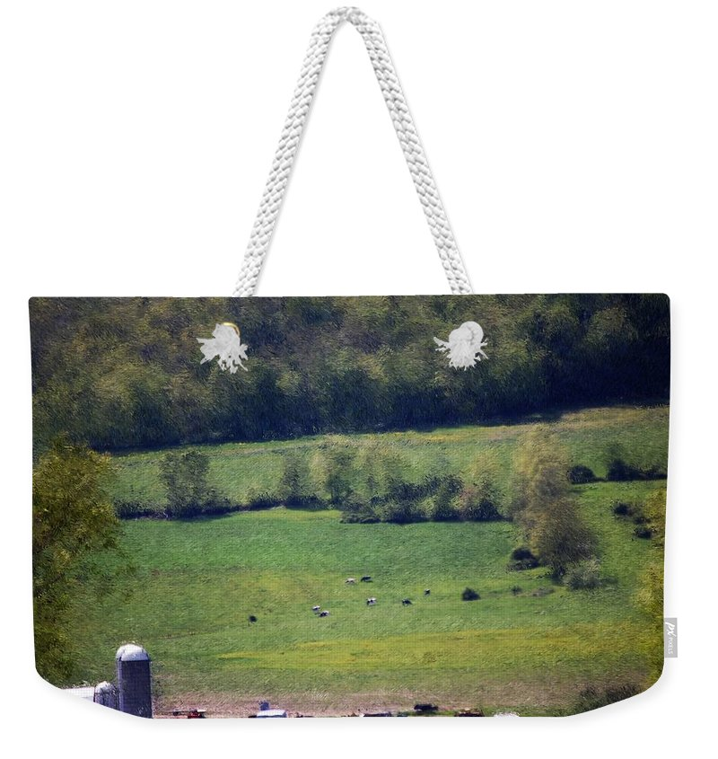 Digital Photo Weekender Tote Bag featuring the photograph Dairy Farm In The Finger Lakes by David Lane