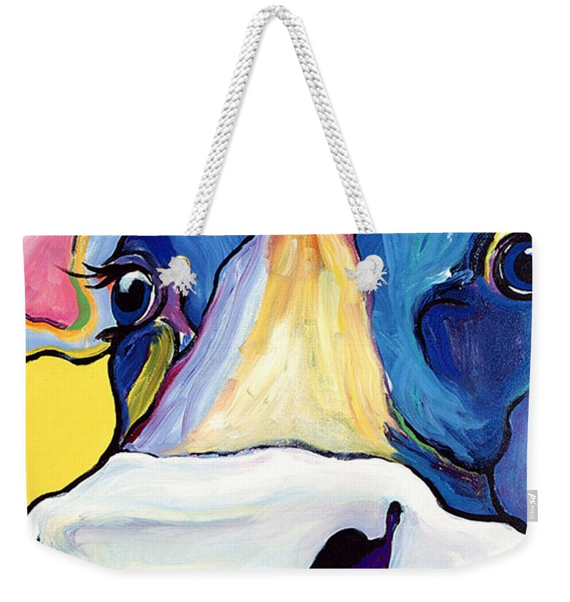 Cow Print Weekender Tote Bag featuring the painting Dairy Queen I  by Pat Saunders-White