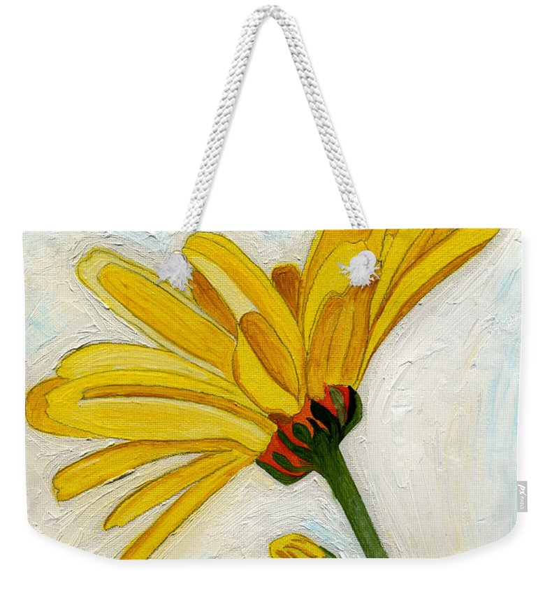 Yellow Daises Weekender Tote Bag featuring the painting Daises From The Past by Anne Gitto
