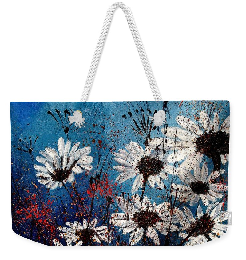 Flowers Weekender Tote Bag featuring the painting Daisies 59060 by Pol Ledent