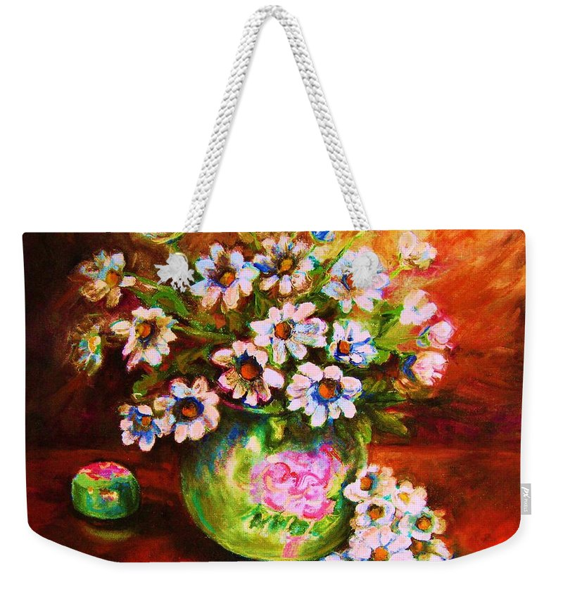 Daisies Weekender Tote Bag featuring the painting Daisies And Ginger Jar by Carole Spandau