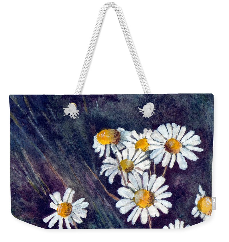 Watercolor Still Life Daisies Flowers Floral Weekender Tote Bag featuring the painting Daisies by Brenda Owen