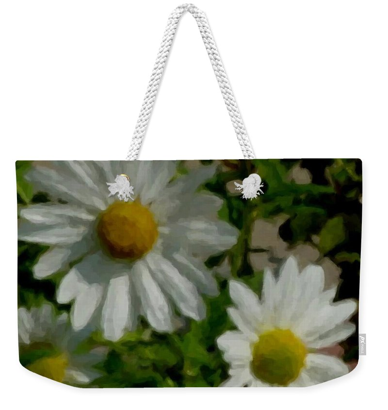 Daisy Weekender Tote Bag featuring the digital art Daisies By The Number by Anita Burgermeister