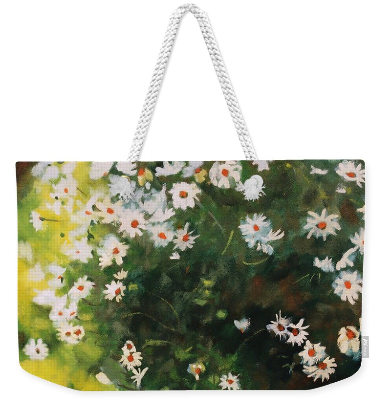 Daisies Weekender Tote Bag featuring the painting Daisies by Iliyan Bozhanov