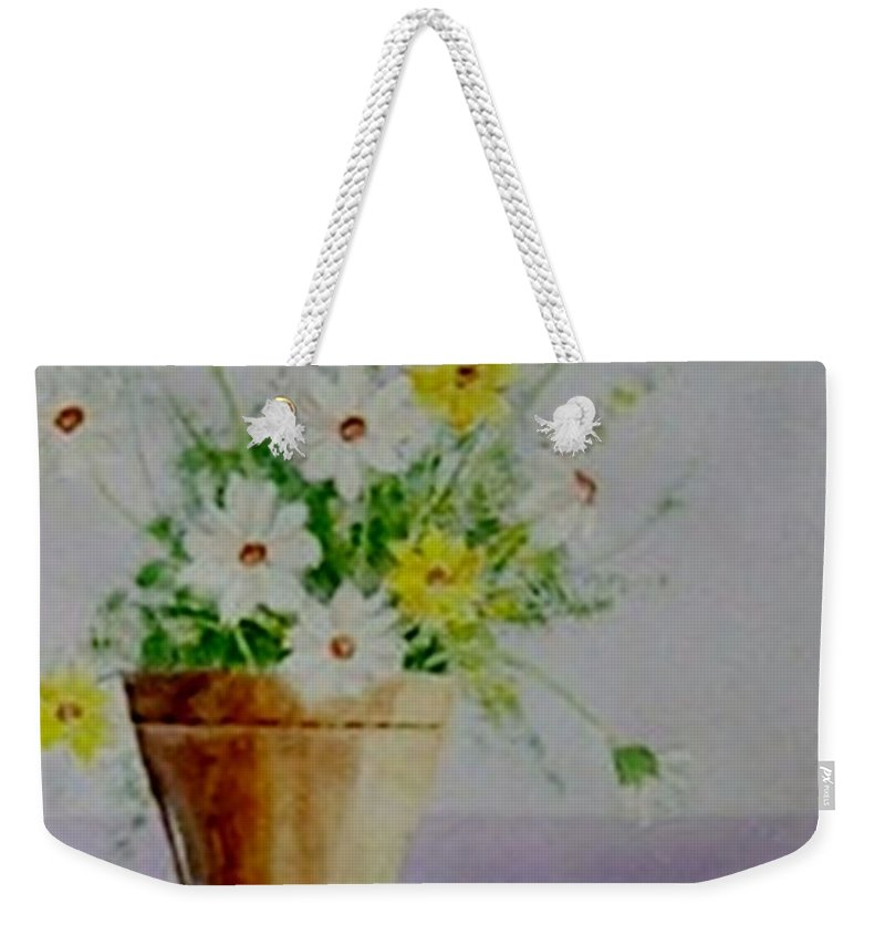 Daisies Weekender Tote Bag featuring the painting Daisies In Pot by Jamie Frier
