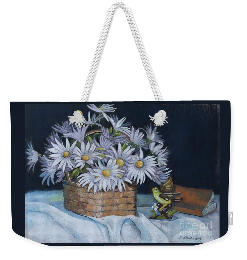 Daisies Weekender Tote Bag featuring the painting Daisies In Still Life by Patty Strubinger