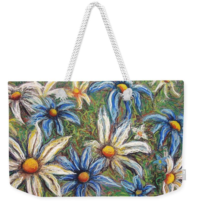 Daisies Weekender Tote Bag featuring the pastel Daisies Pastel by Nancy Mueller