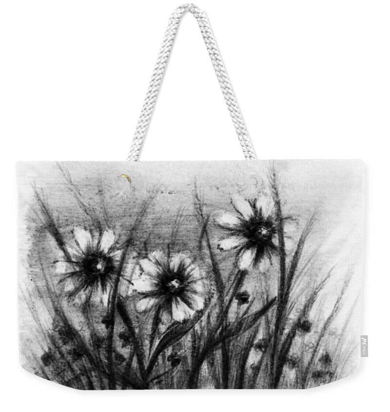 Flowers Weekender Tote Bag featuring the drawing Daisies by Rachel Christine Nowicki