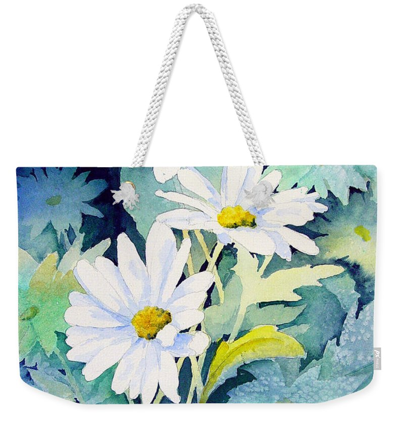 Flowers Weekender Tote Bag featuring the painting Daisies by Sam Sidders