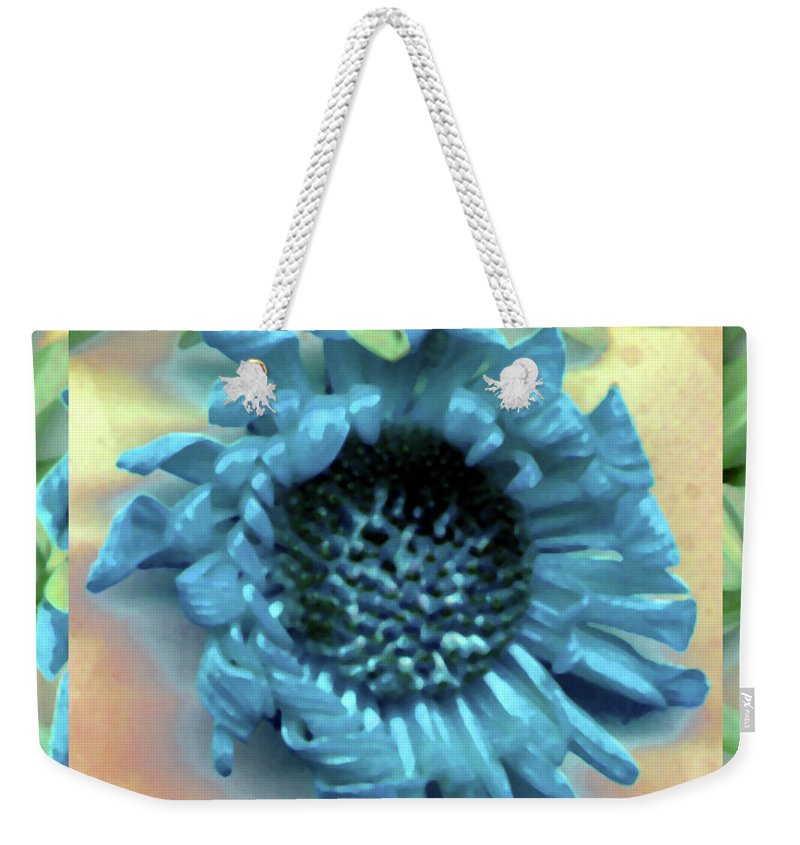 Blue Digital Daisy Leaf Leaves Green Watercolor Weekender Tote Bag featuring the photograph Daisy Blue Frame by Heather Kirk