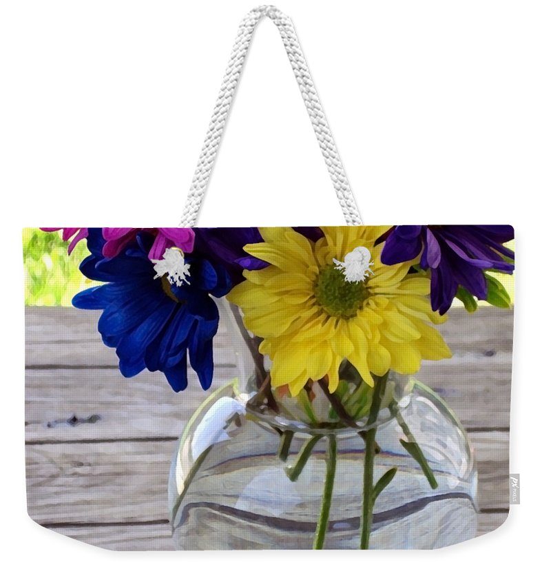 Daisy Crazy Weekender Tote Bag featuring the photograph Daisy Crazy by Angelina Tamez