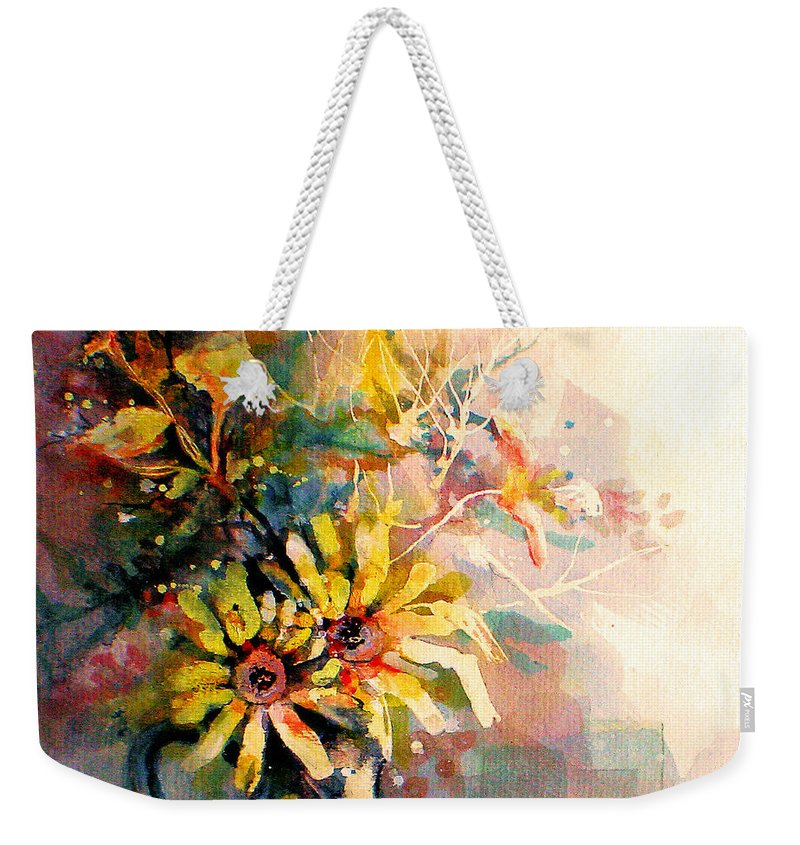 Flowers Weekender Tote Bag featuring the painting Daisy Day by Linda Shackelford