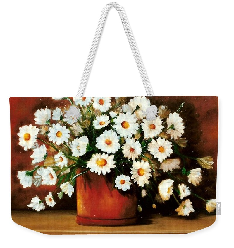 Daisies Weekender Tote Bag featuring the painting Daisy Doodle Sold by Susan Dehlinger