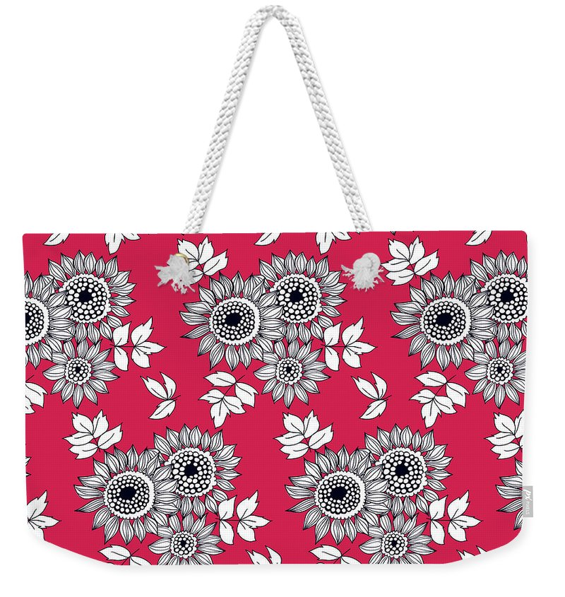 Background Weekender Tote Bag featuring the digital art Daisy Flower Bouquet by Katerina Kirilova