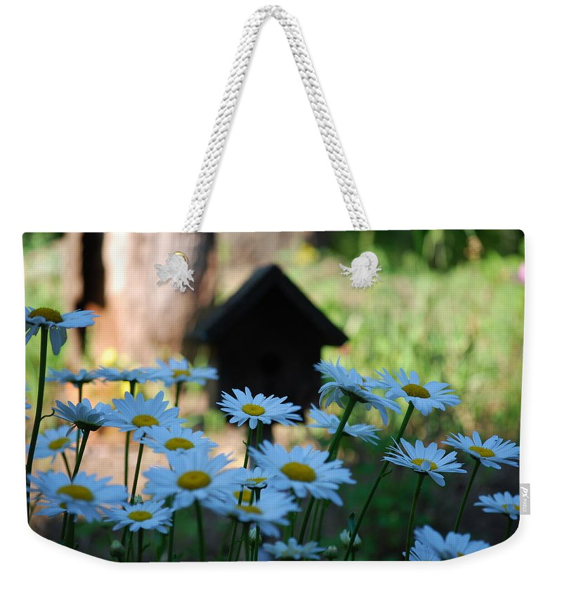 Daisy Weekender Tote Bag featuring the photograph Daisy Garden by Lori Tambakis