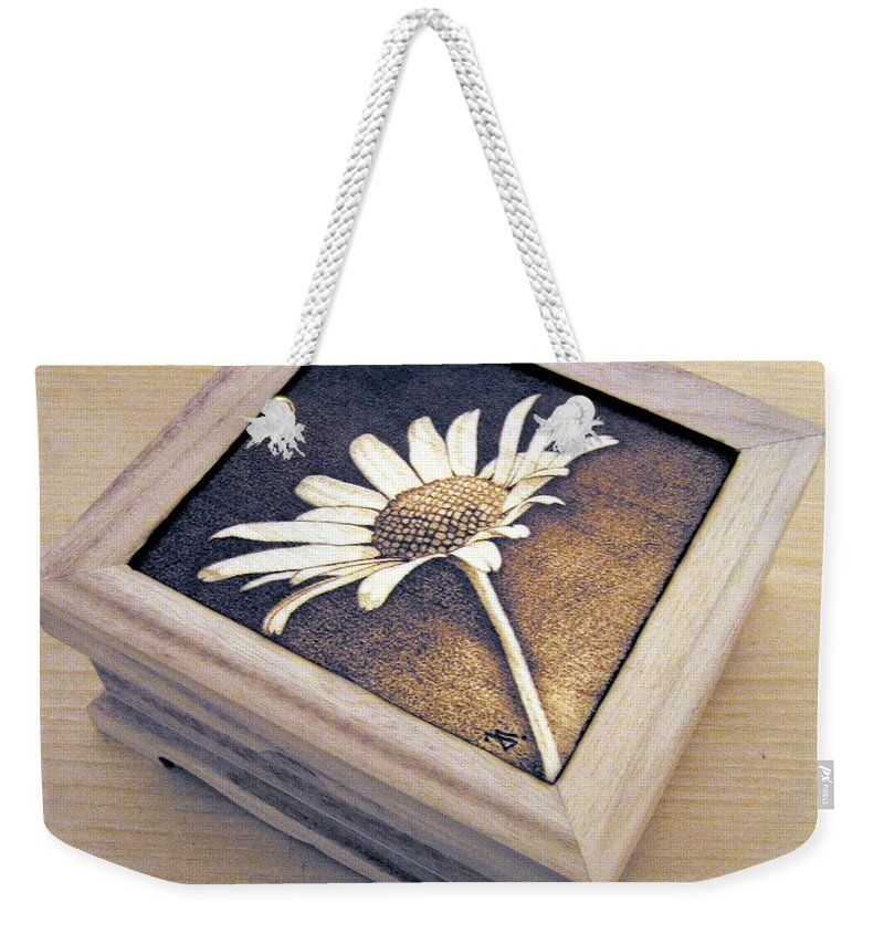 Daisy Weekender Tote Bag featuring the pyrography Daisy by Ilaria Andreucci