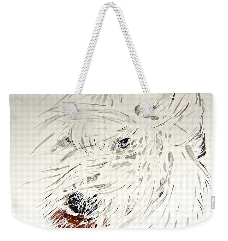 Old English Sheepdog Weekender Tote Bag featuring the painting Daisy In The Snow by Carol Blackhurst