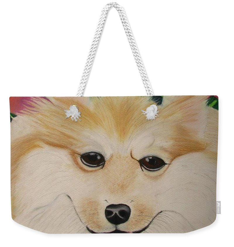 Dog Portrait Weekender Tote Bag featuring the painting Daisy by Michelle Hayden-Marsan