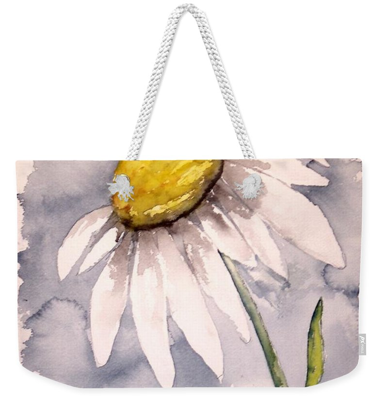 Daisy Weekender Tote Bag featuring the painting Daisy Modern Poster Print Fine Art by Derek Mccrea