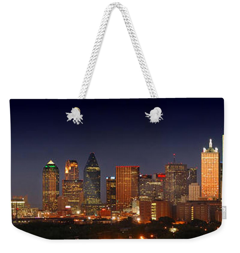 Dallas Skyline Night Weekender Tote Bag featuring the photograph Dallas Skyline At Dusk by Jon Holiday