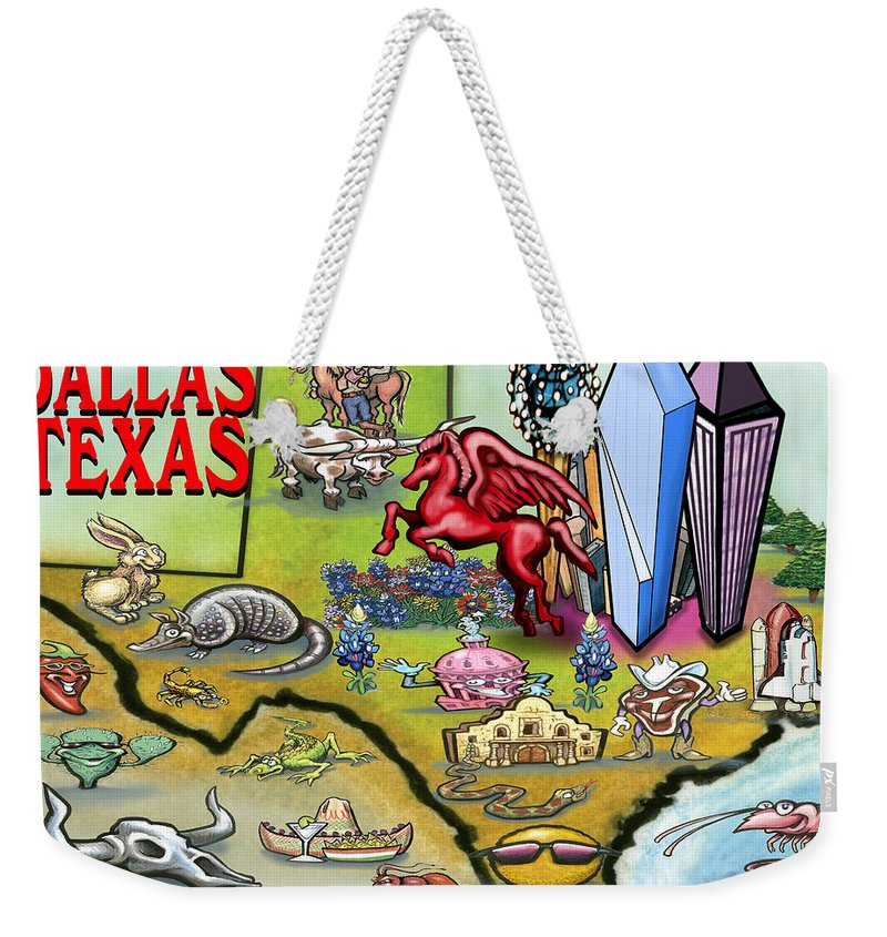 Dallas Weekender Tote Bag featuring the digital art Dallas Texas Cartoon Map by Kevin Middleton