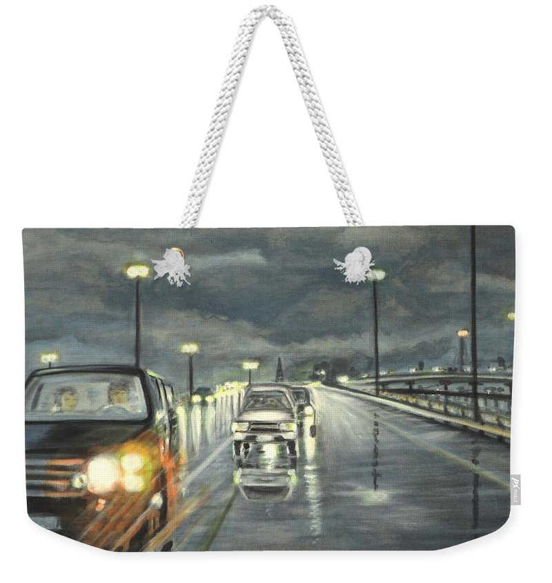 Dallas Weekender Tote Bag featuring the painting Dallas Traffic by Usha Shantharam